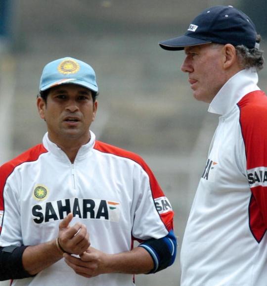 Sachin Tendulkar and Greg Chappell