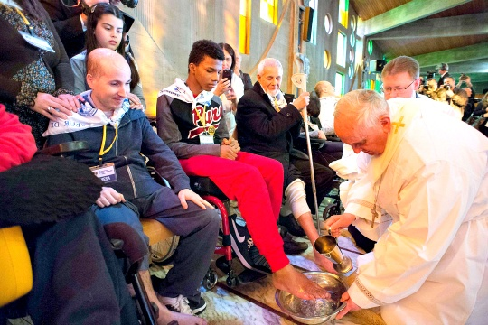 Pope Francis Washes Feet of Disabled