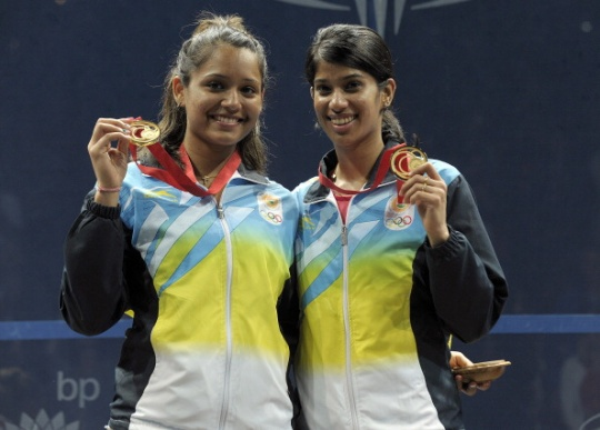 Dipika Pallikal (left) and Joshana Chinappa won the first ever squash medal for India at the Commonwealth Games