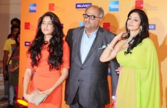 Sridevi, Boney Kapoor, Jhanvi Kapoor