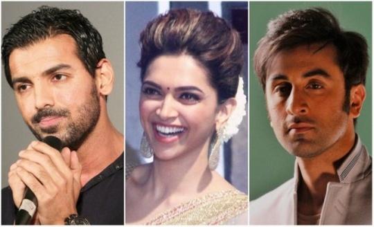 John Abraham, Deepika Padukone, Ranbir Kapoor