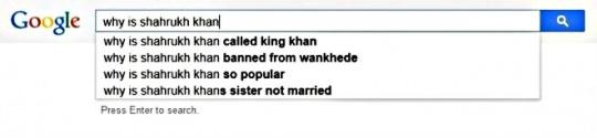 Shah Rukh Khan search suggestions