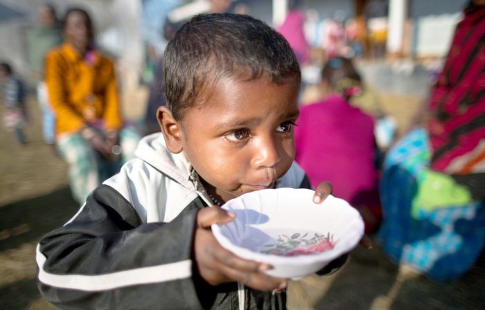 Child at a relief camp, Assam