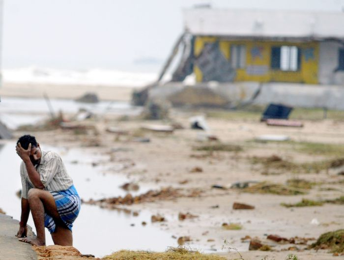 A lonely man after Tsunami