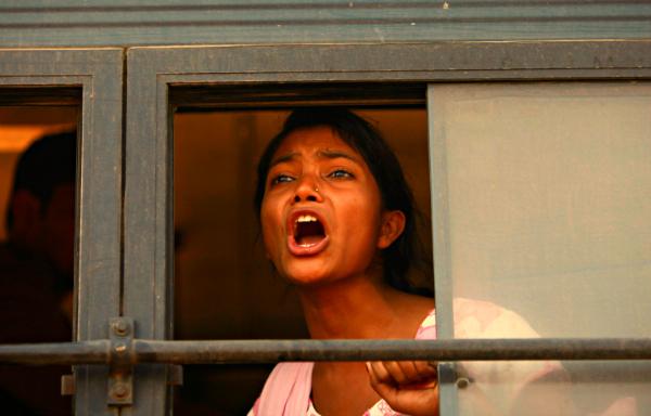 girl screaming bus
