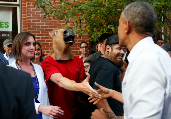 Obama walkabout horse guy funny