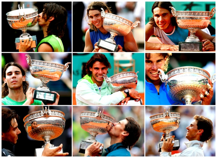 Nadal and his 9 trophies.