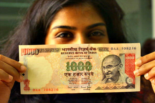 woman india note 1000 rupees