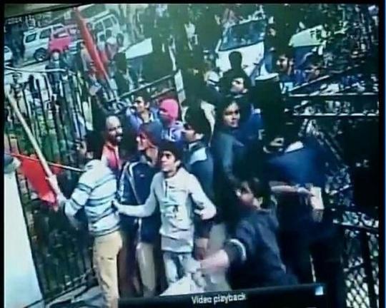 CCTV footage showing Hindu Raksha Dal activists ransacking AAP office