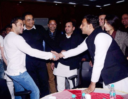 UP CM Akhilesh Yadav with Salman Khan in Saifai