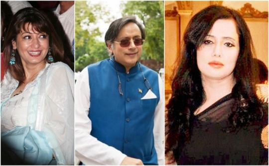 Sunanda Tharoor, Shashi Tharoor and Mehr Tarar