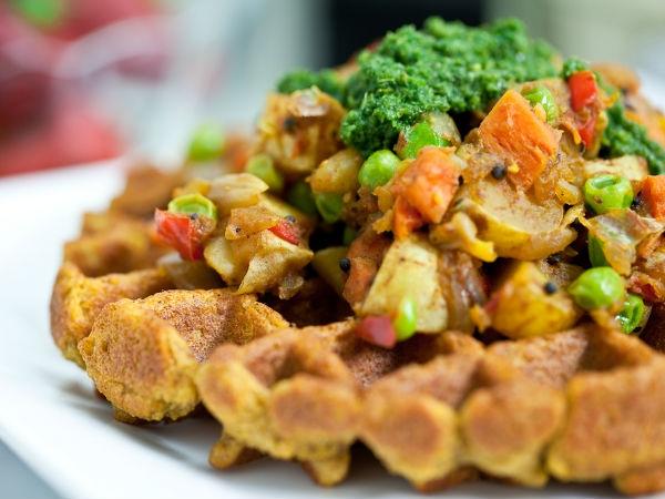 Healthy Snack Recipe: Green Peas Waffles