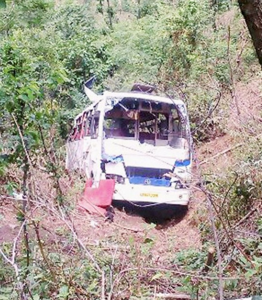 A passenger bus that fell down in a gorge in Sirmaur district of Himachal Pradesh on Monday evening