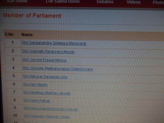 BJP Website's MPs List