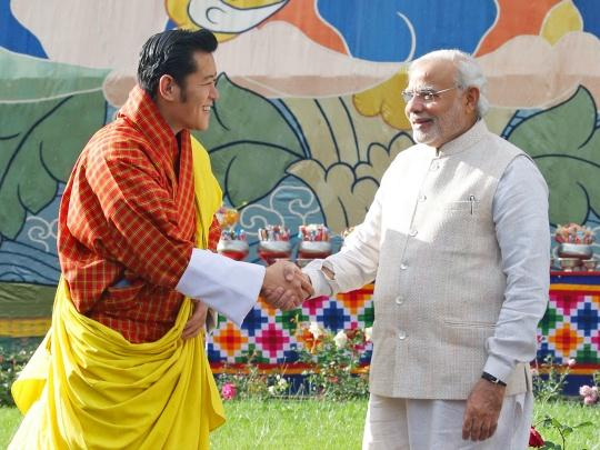 Bhutanese King Jigme Khesar Namgyel Wangchuck, Prime Minister Narendra Modi