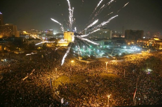 Supporters of Egyptian President Abdel-Fattah el-Sissi celebrate his inauguration in Tahrir Square