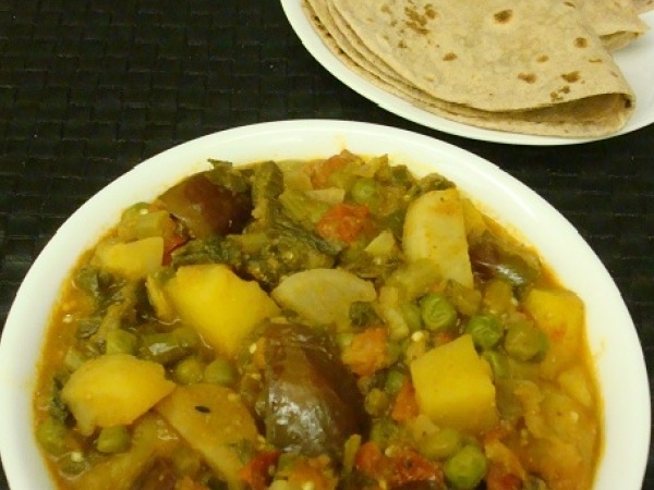 Five Vegetables Curry Recipe: Panchmel / Masale ki Subji