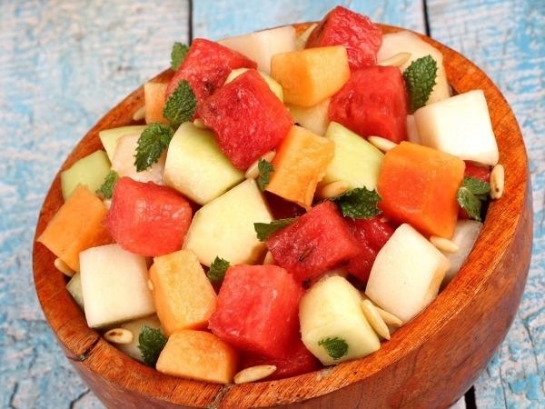 Healthy Salad Recipe: Four Melon Salad With Canola Mint Chutney Pesto