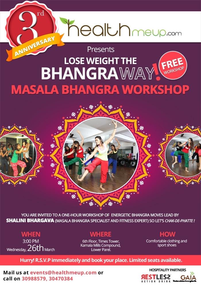 3rd Anniversary Special: HealthMeUp Present's Free Masala Bhangra Workshop