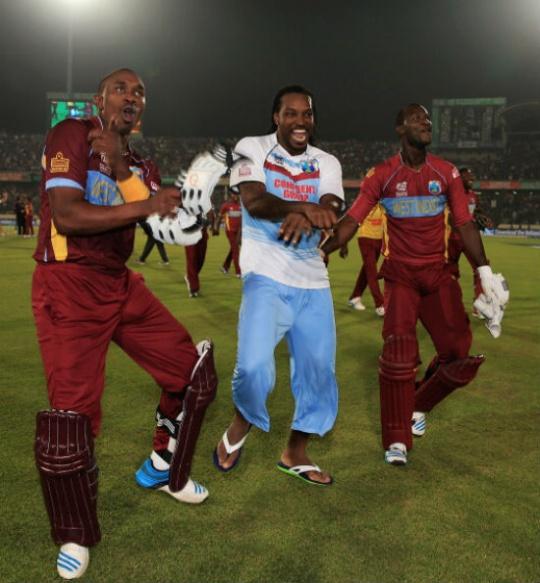 West Indies team dancing on the tunes of Gangnam jig