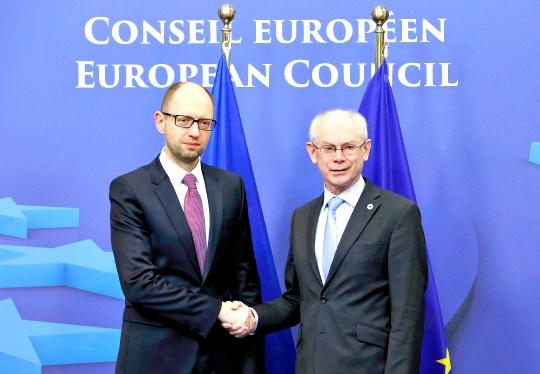 Ukraine Prime Minister Arseniy Yatsenyuk, European Council President Herman Van Rompuy