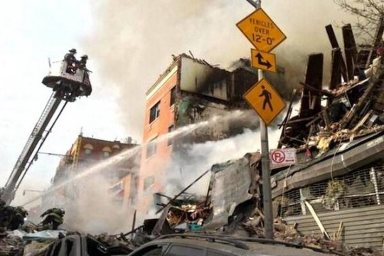 New York Building Explodes, Collapses
