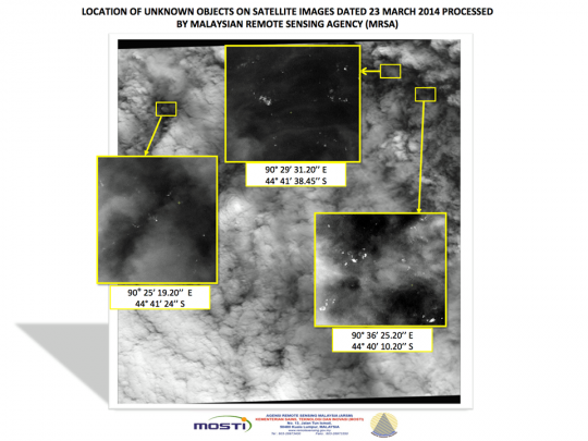 Location of unknown objects on satellite images