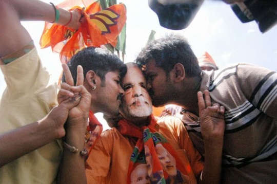 BJP supporters celebrate the party's victory