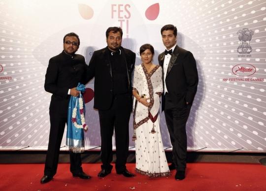 Dibakar Banerjee, Anurag Kashyap, Zoya Akhtar, Karan Johar at Cannes 2013