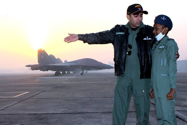 Chandan being given tour of IAF base