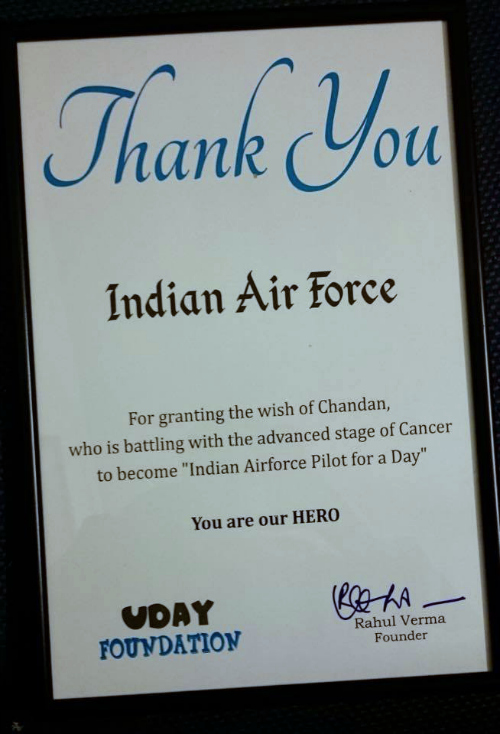 Chandan cancer patient certificate from IAF