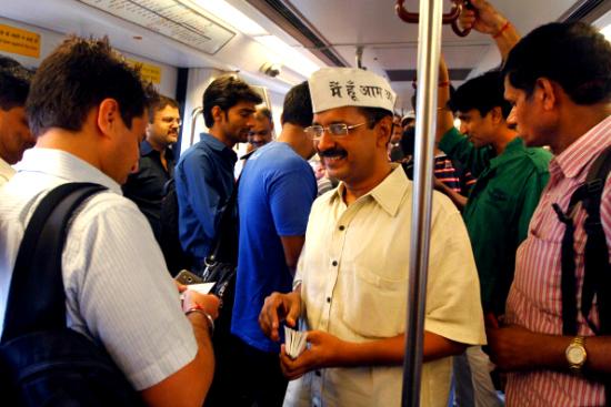 Kejriwal on the metro