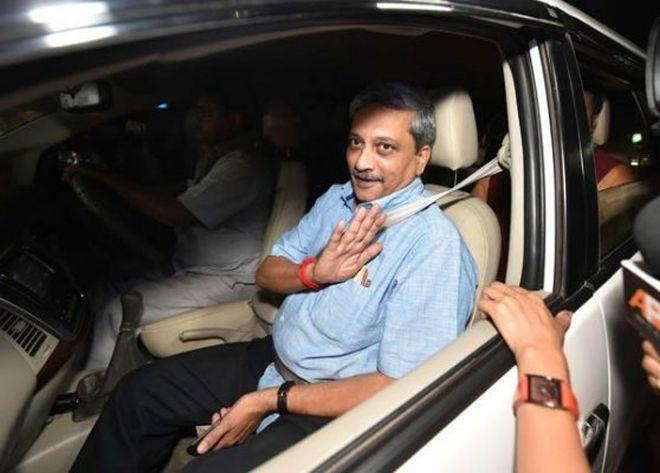 Manohar Parrikar in his car