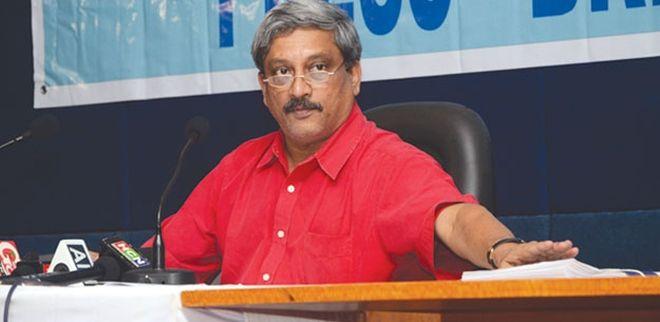 Manohar Parrikar at a press conference