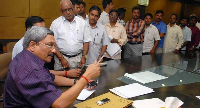 Manohar Parrikar in his office