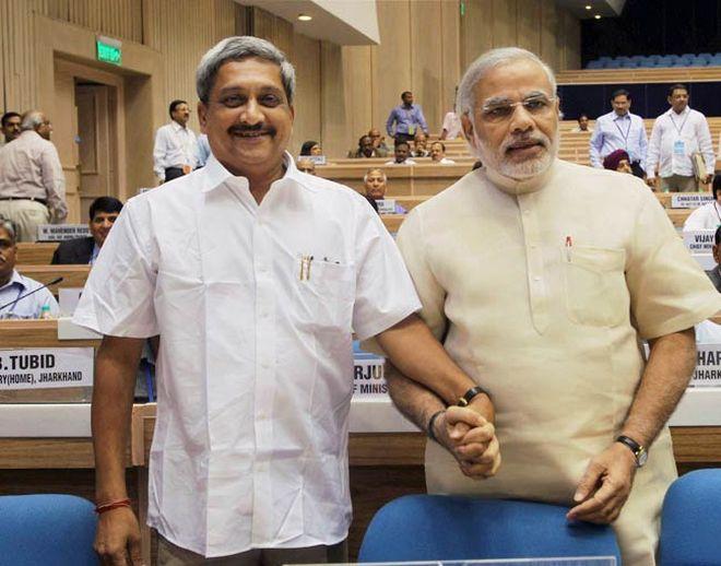 Narendra Modi with Manohar Parrikar