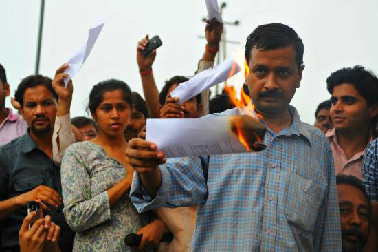 Kejriwal burning