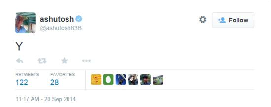 Y Ashutosh tweet
