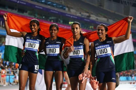 Priyanka Panwar, Tintu Luka, Mandeep Kaur, M. Poovamma: Women's 4X400m relay athletics