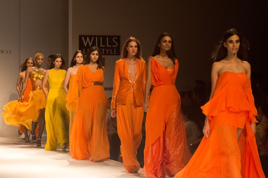 Models walk the ramp during the Wills Lifestyle India Fashion Week Spring-Summer 2015 in New Delhi.
