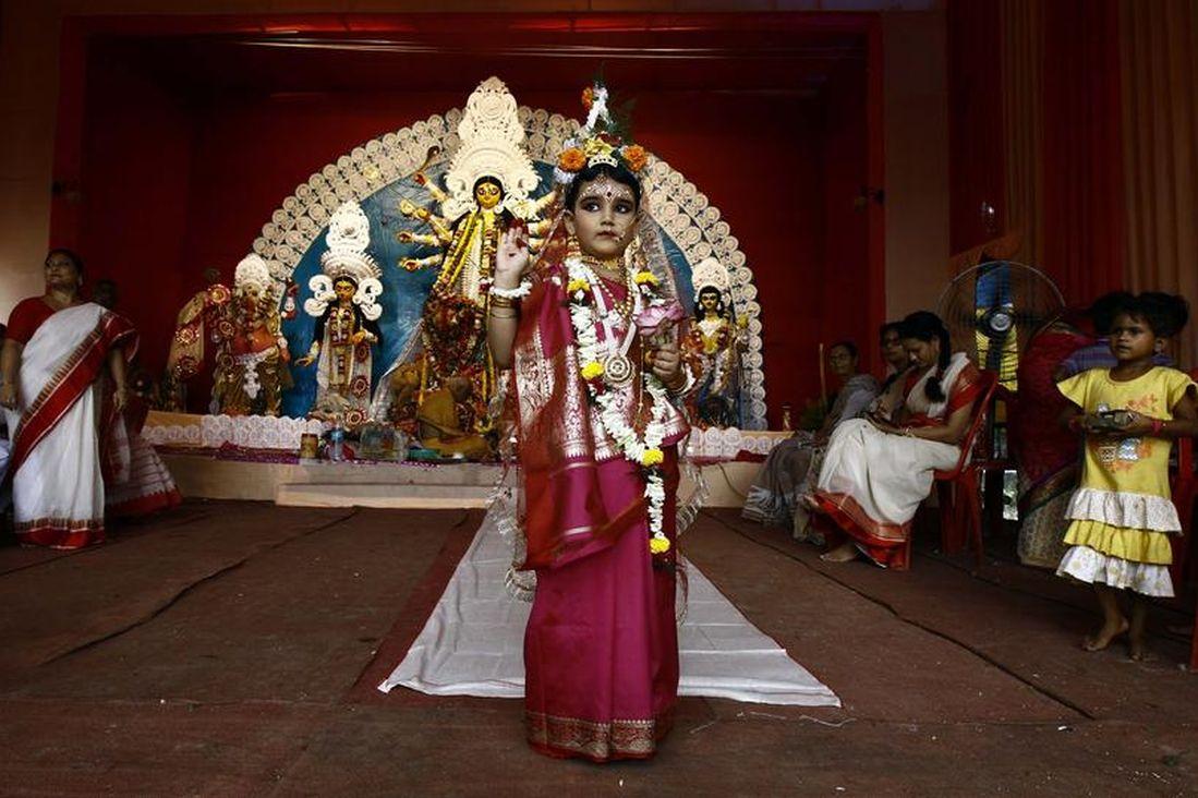 Mahaswata Roy Chowdhury, a five-year old girl dressed as a Kumari