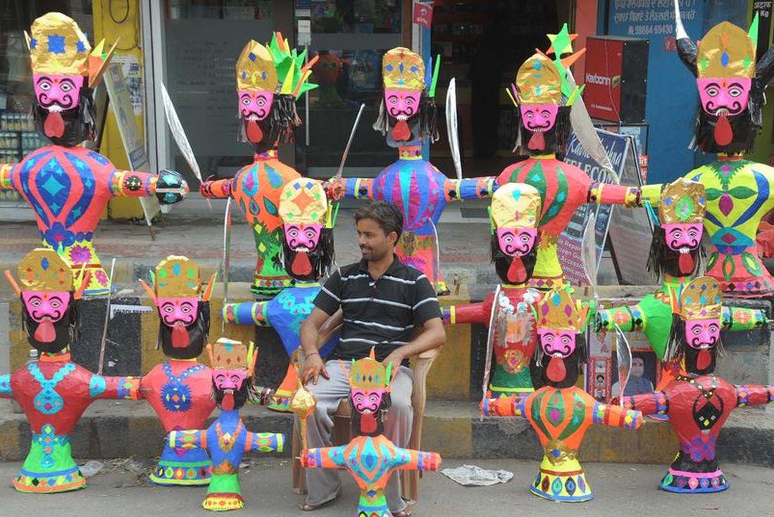 A vendor sells effigies of Ravana