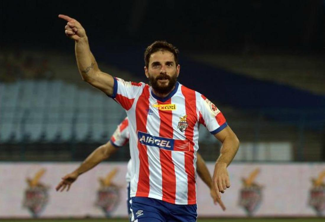 Joffre Gonzalez celebrates scoring a goal during the Indian Super League