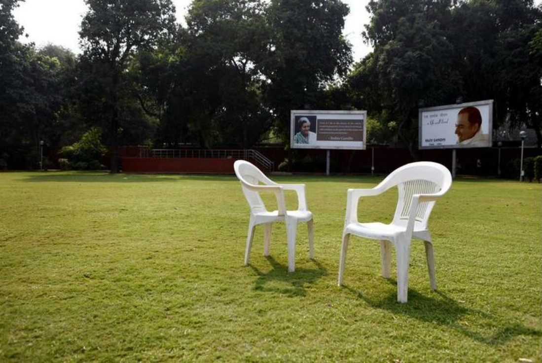 Empty chairs at the Congress headquarters after poll defeat