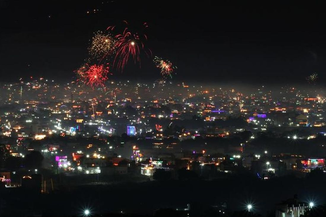 Fireworks light up the night sky during Diwali