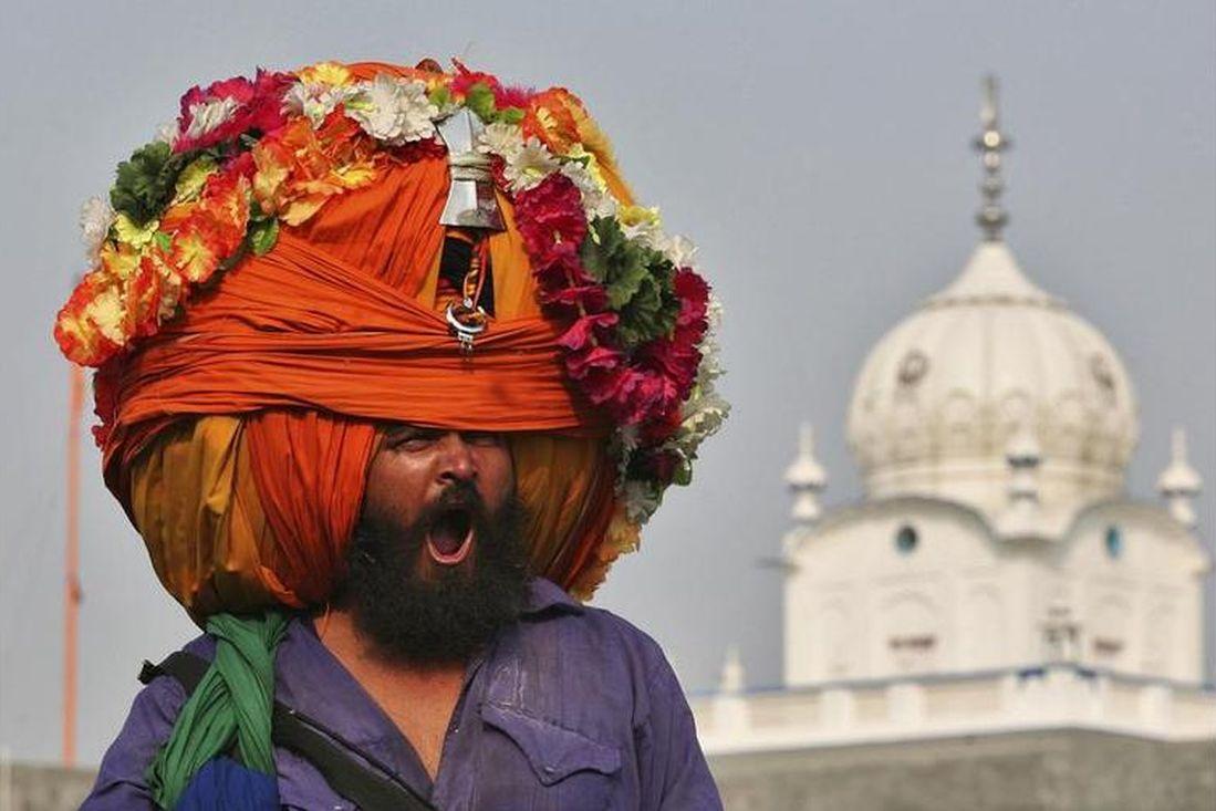 A Sikh warrior wearing a big turban