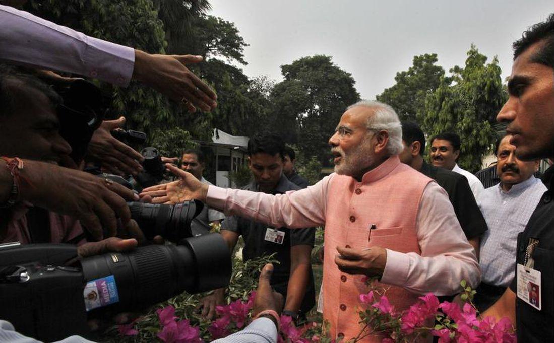 Prime Minister Narendra Modi during the Diwali Milan for Media Person