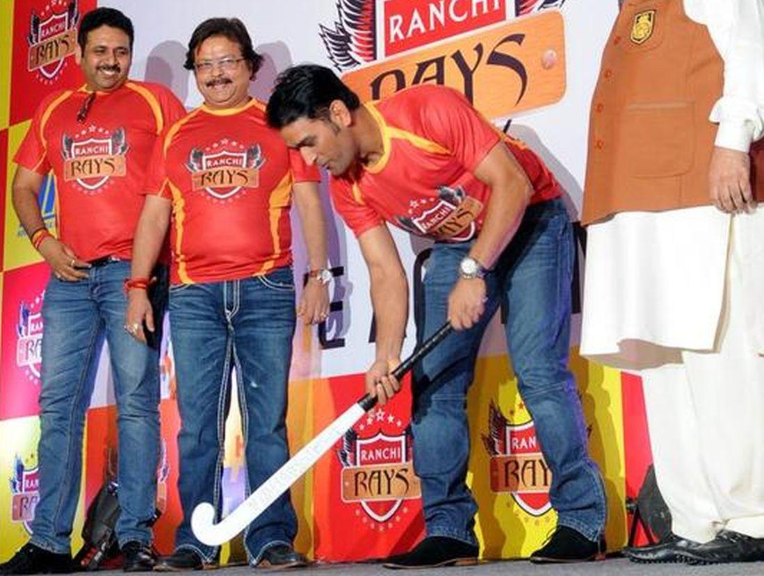 Mahendra Singh Dhoni at hockey team launch