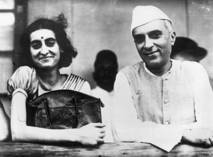Indira Gandhi and Jawaharlal Nehru