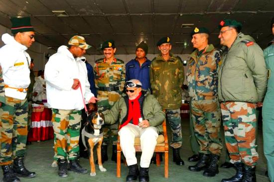 Modi at Siachen with dog